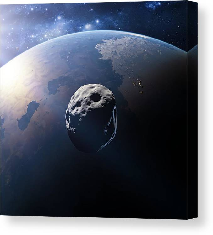 Alien Planet And Asteroid Canvas Print