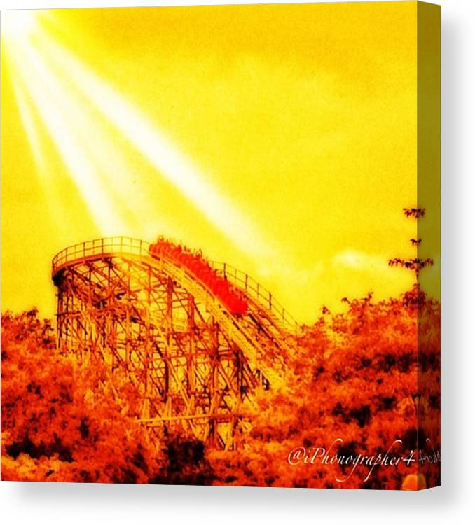 Mobilephotography Canvas Print featuring the photograph #amazing Shot Of A #rollercoaster At by Pete Michaud