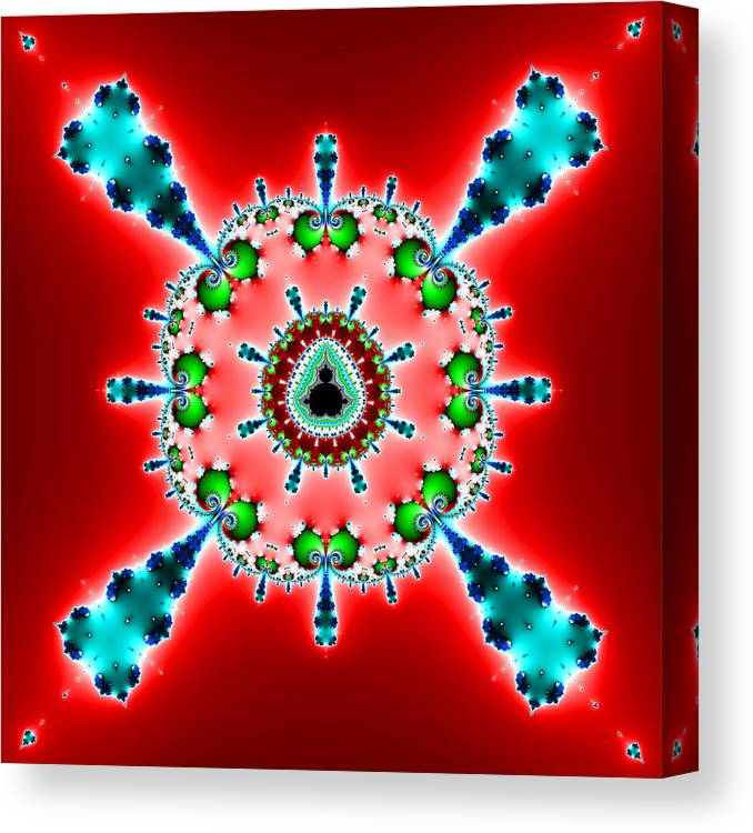 Abstract Canvas Print featuring the digital art Blue X On Red by Mark Eggleston