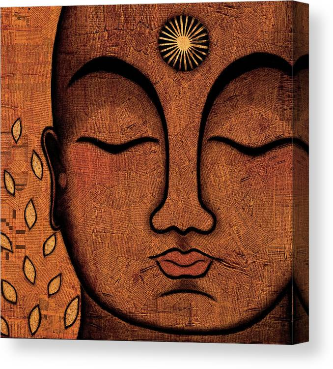 Buddha Canvas Print featuring the painting He Knows by Gloria Rothrock