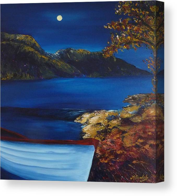 Moonlight Canvas Print featuring the painting Moonlight On Loch Eck by Margaret Denholm