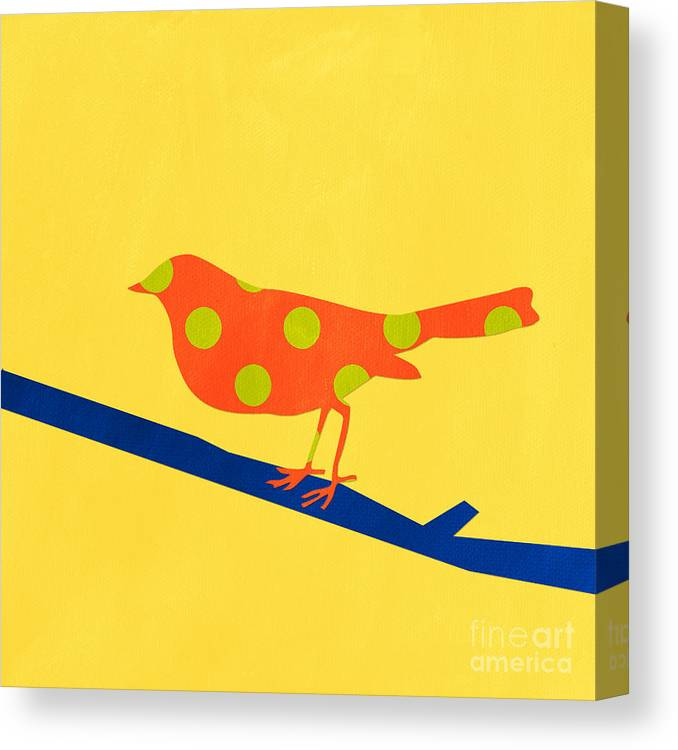 Bird Canvas Print featuring the mixed media Orange Bird by Linda Woods