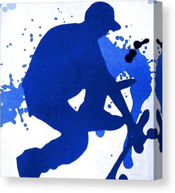 Sport Canvas Print featuring the digital art Skateboarder Blue by Florene Welebny