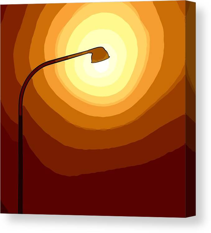 Laterne Lamp Lantern Lamp-post Light Shine Modern Oil Painting Darkness Shadow Energy Abstract Beam Ray Halo Flash Reflactor Simply Simplicity Red Orange Yellow White Plain  Field Color Colorful  Canvas Print featuring the painting Sun-light by Steve K