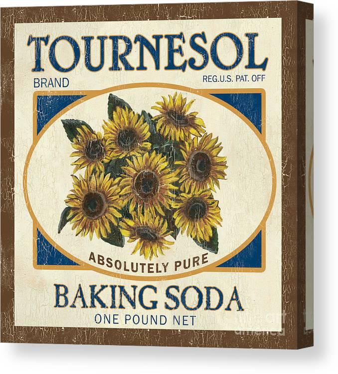 Sunflower Canvas Print featuring the painting Tournesol Baking Soda by Debbie DeWitt