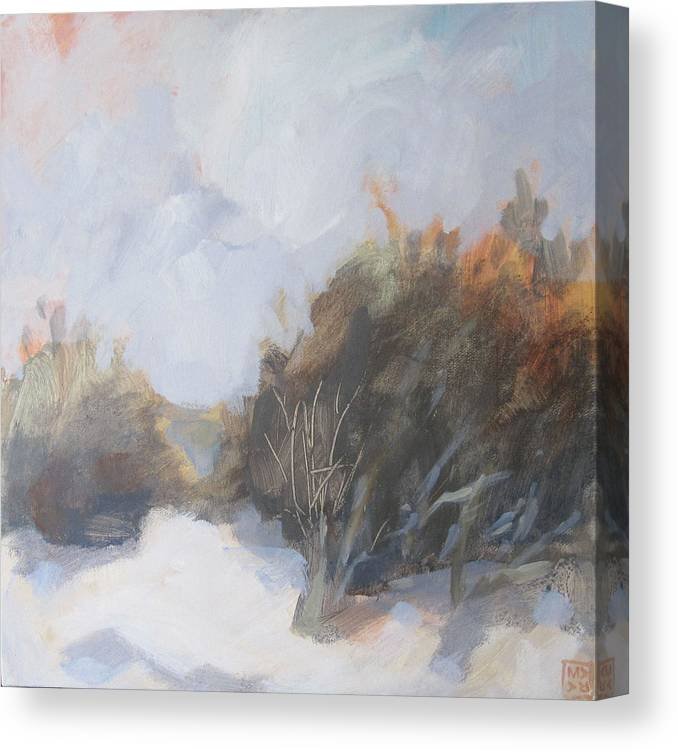 Landscape Canvas Print featuring the painting Winter Beach Walk I by Mary Brooking