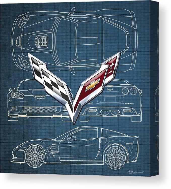 �wheels Of Fortune� By Serge Averbukh Canvas Print featuring the photograph Chevrolet Corvette 3 D Badge Over Corvette C 6 Z R 1 Blueprint by Serge Averbukh