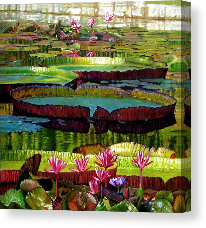 Landscape Canvas Print featuring the painting Patterns Of Shadow And Sunlight by John Lautermilch