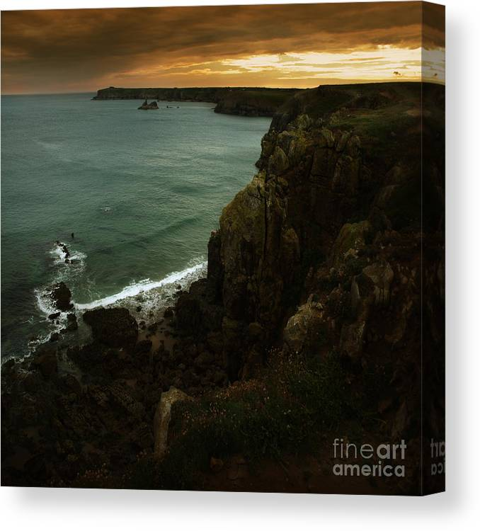 Cliff Canvas Print featuring the photograph The Pembrokeshire Cliffs by Angel Ciesniarska