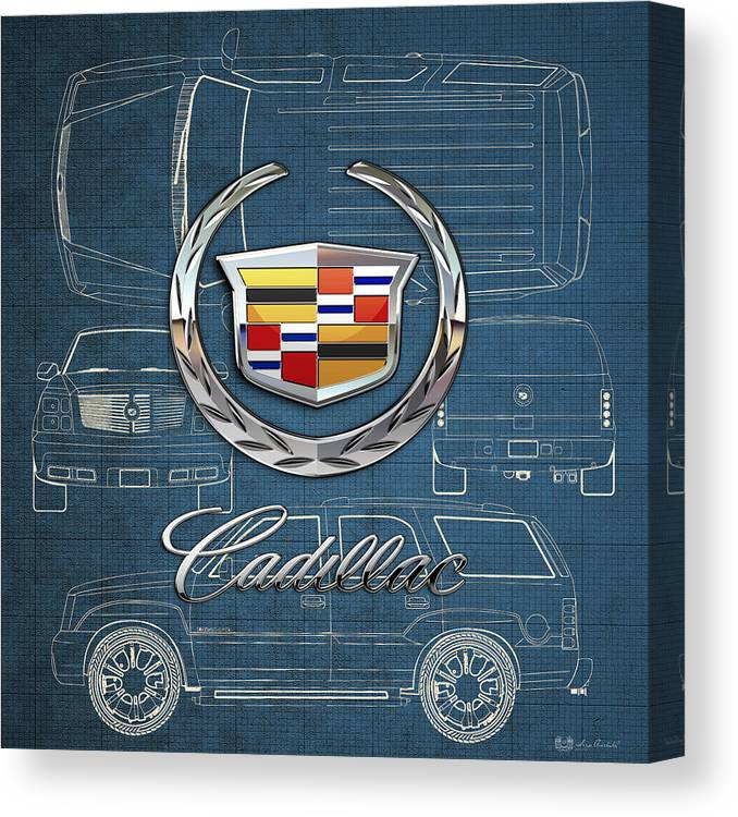 'wheels Of Fortune' By Serge Averbukh Canvas Print featuring the photograph Cadillac 3 D Badge Over Cadillac Escalade Blueprint by Serge Averbukh