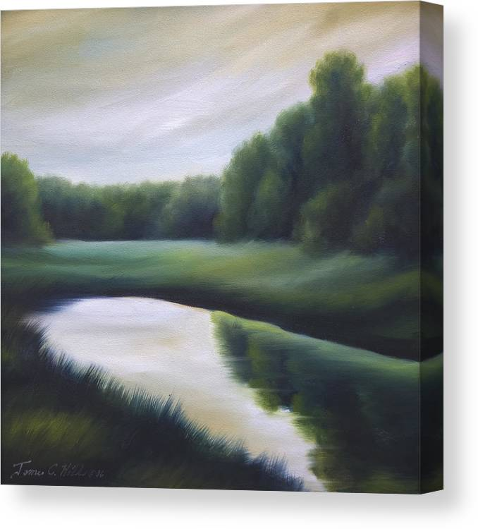 Nature; Lake; Sunset; Sunrise; Serene; Forest; Trees; Water; Ripples; Clearing; Lagoon; James Christopher Hill; Jameshillgallery.com; Foliage; Sky; Realism; Oils; Green; Tree Canvas Print featuring the painting A Day In The Life 3 by James Christopher Hill