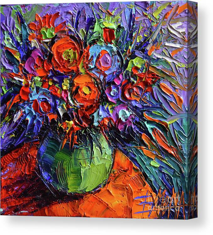 Abstract Floral On Orange Table Impasto Palette Knife Oil Painting Canvas Print