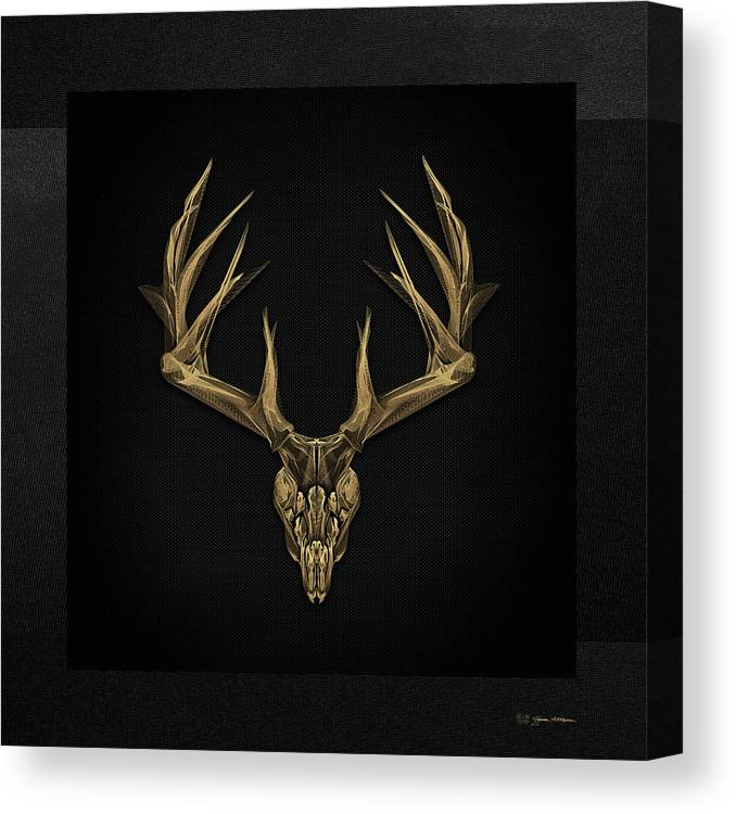 """antlered Skulls"" Collection By Serge Averbukh Canvas Print featuring the digital art Antlered Skulls - Gold Deer Skull X-ray Over Black Canvas No.1 by Serge Averbukh"
