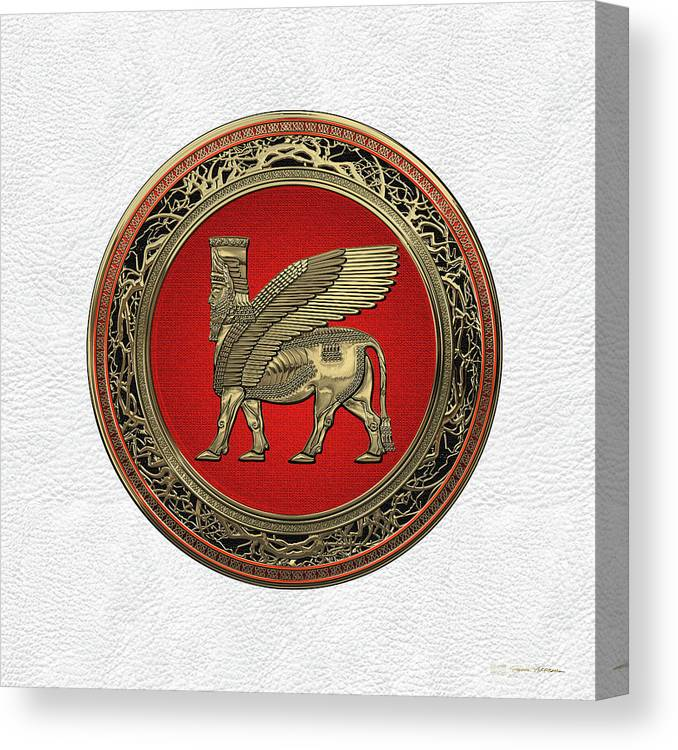 Assyrian Winged Bull Gold Lamassu Over White Leather Canvas Print