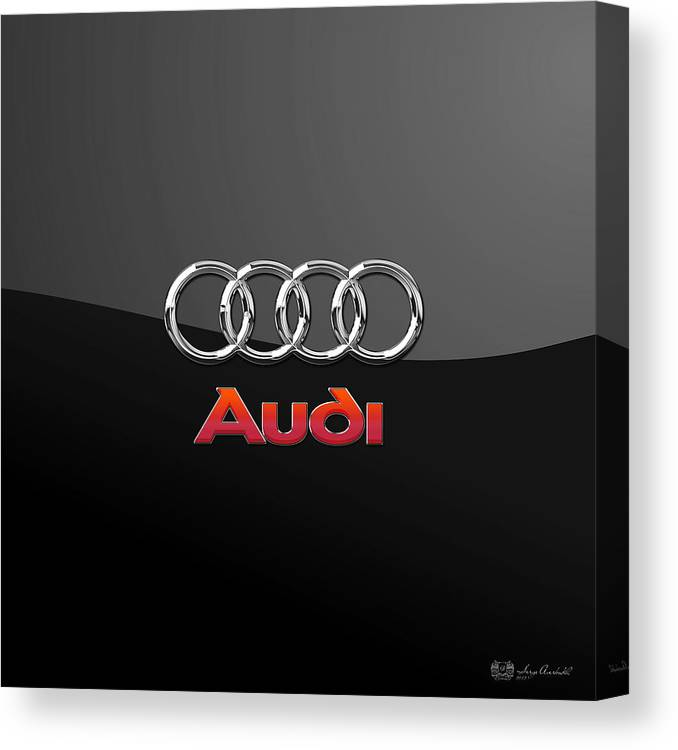 'wheels Of Fortune' Collection By Serge Averbukh Canvas Print featuring the photograph Audi 3 D Badge On Black by Serge Averbukh