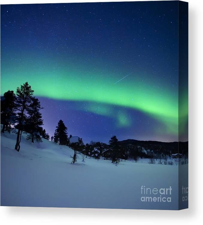 a9e782804f7 Aurora borealis canvas print featuring the photograph aurora borealis and a  shooting star arild heitmann jpg
