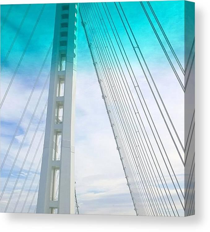 Bridge Canvas Print featuring the photograph Bay #bridge Section. Love The Aqua Tint by Shari Warren