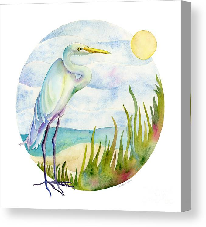 White Bird Canvas Print featuring the painting Beach Heron by Amy Kirkpatrick