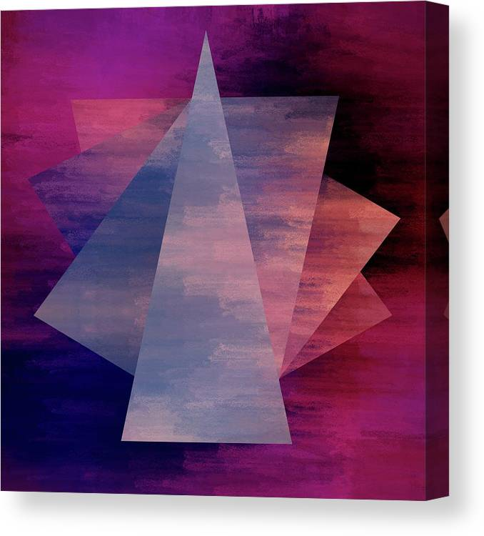Brandi Fitzgerald Canvas Print featuring the digital art Bold Fuchsia And Blue Triangles by Brandi Fitzgerald