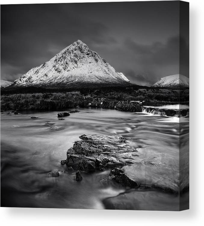 Buachaille Etive Mor Canvas Print featuring the photograph Buachaille Etive Mor Mono by Grant Glendinning