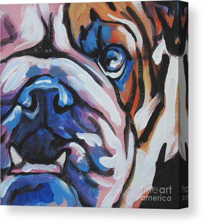 Bulldog Canvas Print featuring the painting Bulldog Baby by Lea S