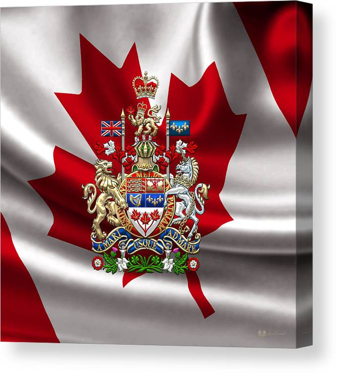 Canada Coat Of Arms Over Canadian Flag Canvas Print