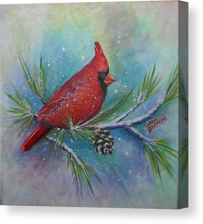 Red Canvas Print featuring the painting Cardinal And Delta Snow by Sheri Hubbard
