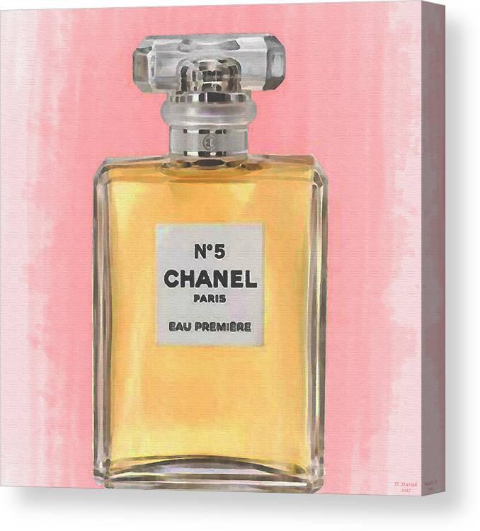 3fbb72b5410 Chanel No 5 Canvas Print featuring the digital art Chanel No 5 Eau De Parfum  by