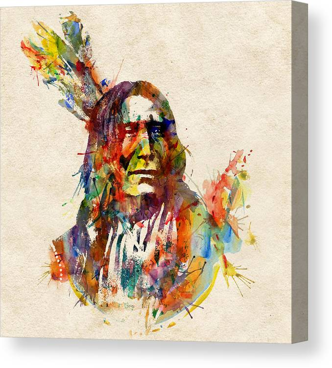Mojo Canvas Print featuring the painting Chief Mojo Watercolor by Marian Voicu