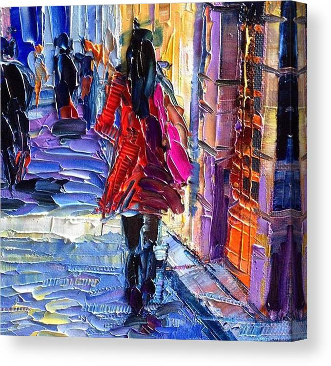 Monaedulesco Canvas Print featuring the photograph Close Up On New #paletteknife Oil by Mona Edulesco