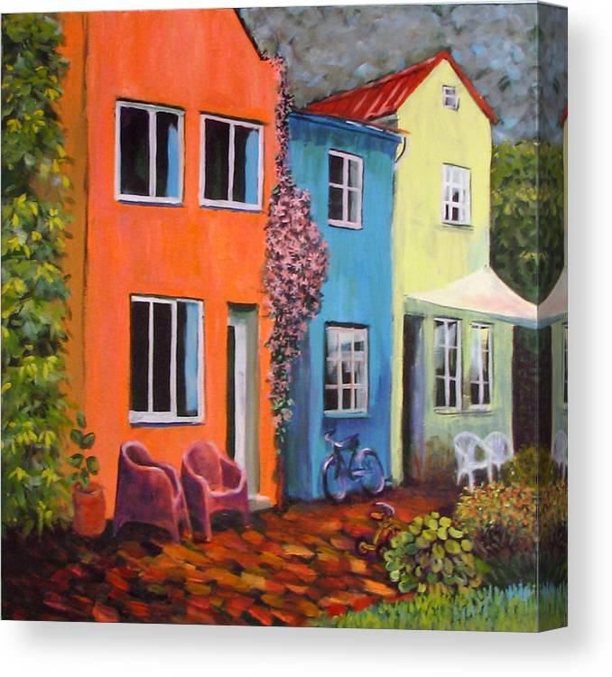 Cozy Canvas Print featuring the painting Cozy Street by Art Nomad Sandra Hansen