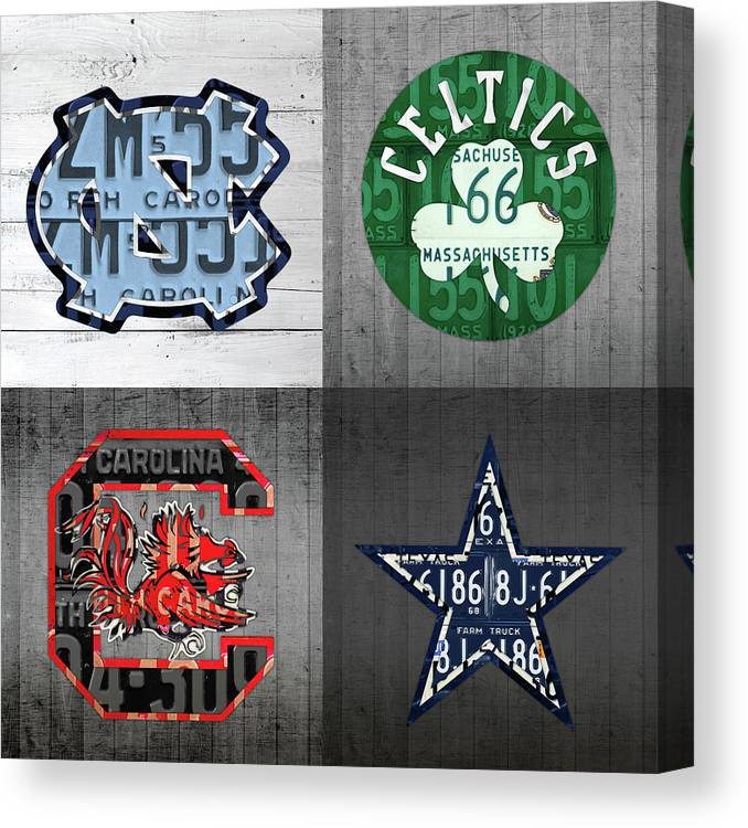 Unc Canvas Print featuring the mixed media Custom 4 Team License Plates Sport Art No 1 by Design Turnpike