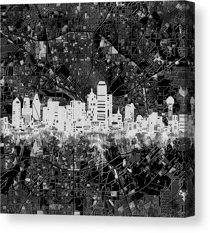 Dallas Skyline Map Black And White 5 Canvas Print Canvas Art By