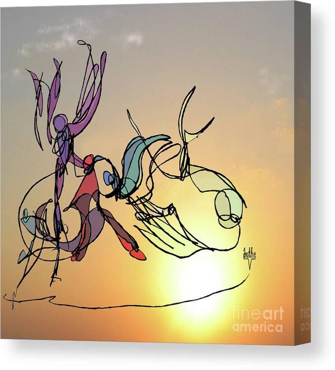 Dancers Canvas Print featuring the digital art Dance At Sunrise by Anthe Capitan-Valais