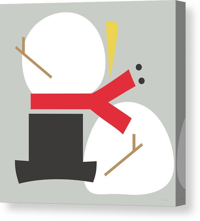 Snowman Canvas Print featuring the digital art Deconstructed Snowman- Modern Art By Linda Woods by Linda Woods