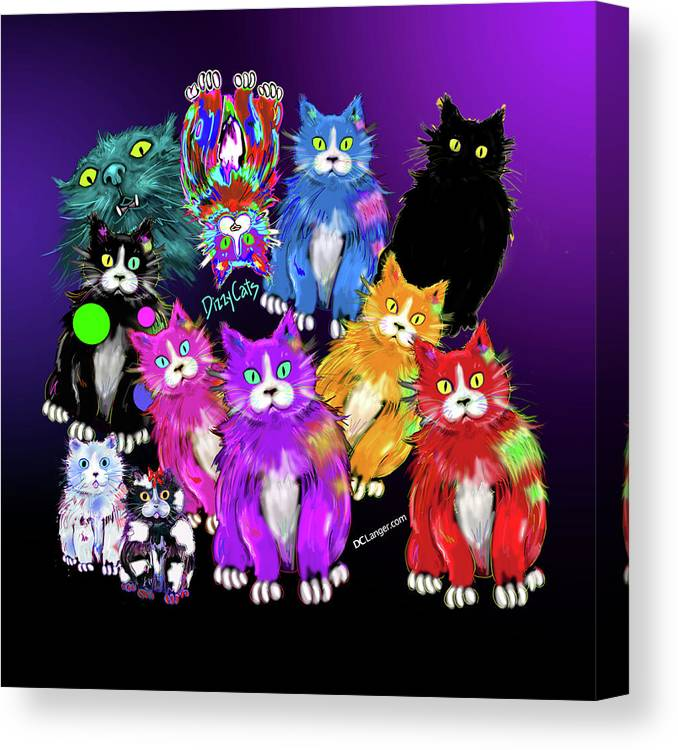 Cat Canvas Print featuring the painting Dizzycats by DC Langer
