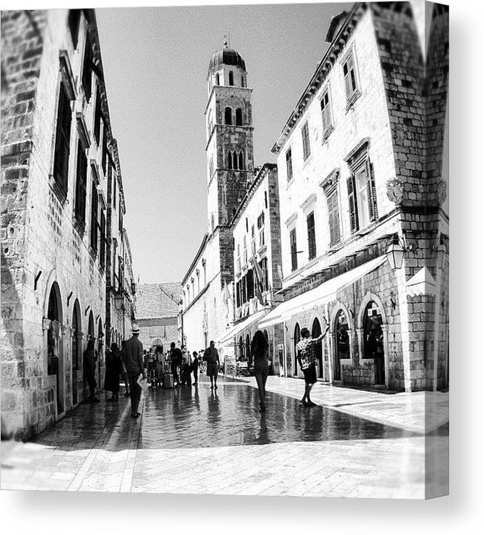 Beautiful Canvas Print featuring the photograph #dubrovnik #b&w #edit by Alan Khalfin