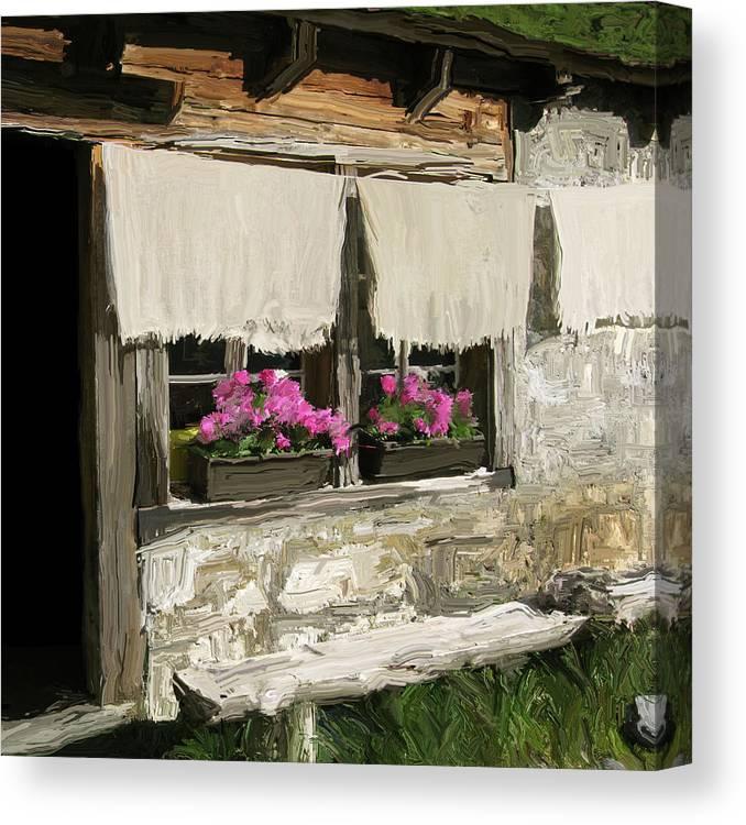 European Canvas Print featuring the painting European Windowsill by Carol Peck