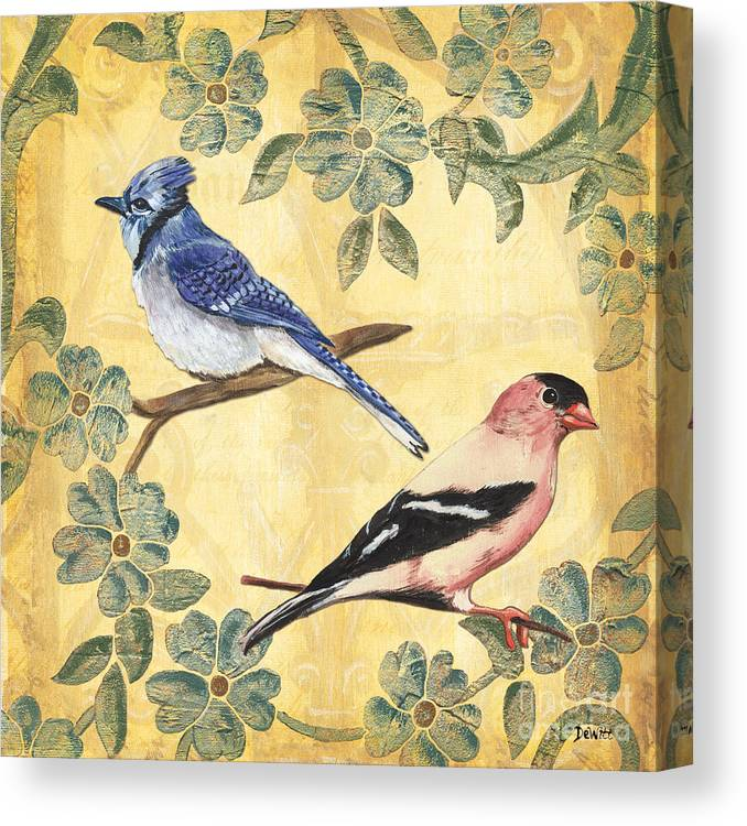 Birds Canvas Print featuring the painting Exotic Bird Floral And Vine 1 by Debbie DeWitt