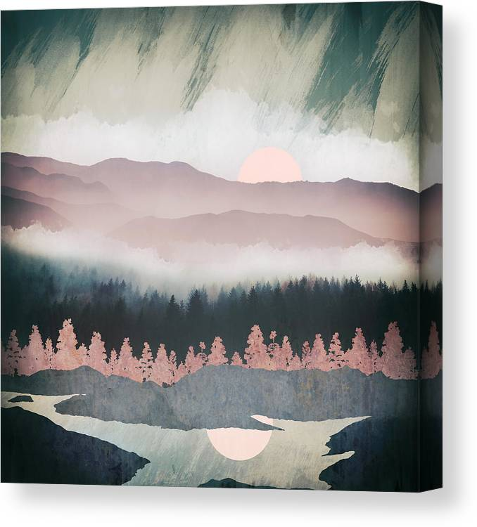 Forest Canvas Print featuring the digital art Forest Lake Evening by Spacefrog Designs