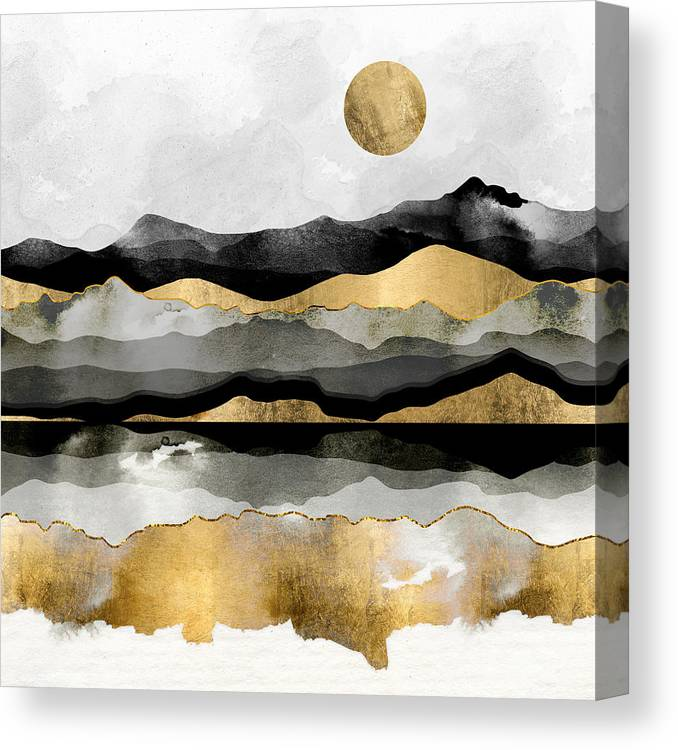 Gold Canvas Print featuring the digital art Golden Spring Moon by Spacefrog Designs