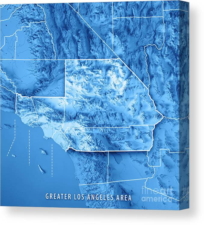 Greater Los Angeles Area Usa 3d Render Topographic Map Blue Bord