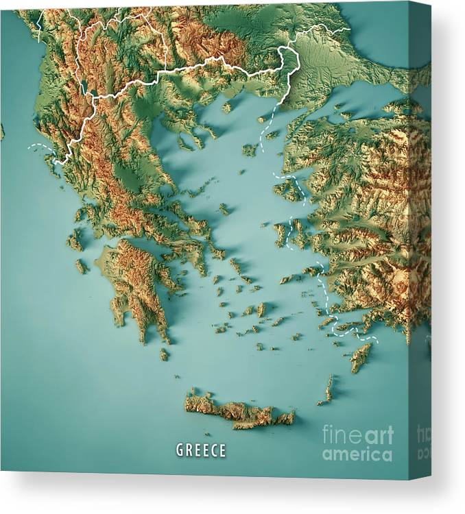 Greece Country 3d Render Topographic Map Border Canvas Print