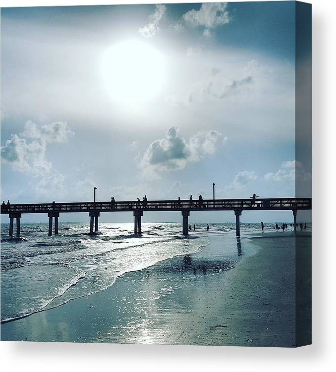 Water Canvas Print featuring the photograph Hazy Sun Down by Ric Schafer