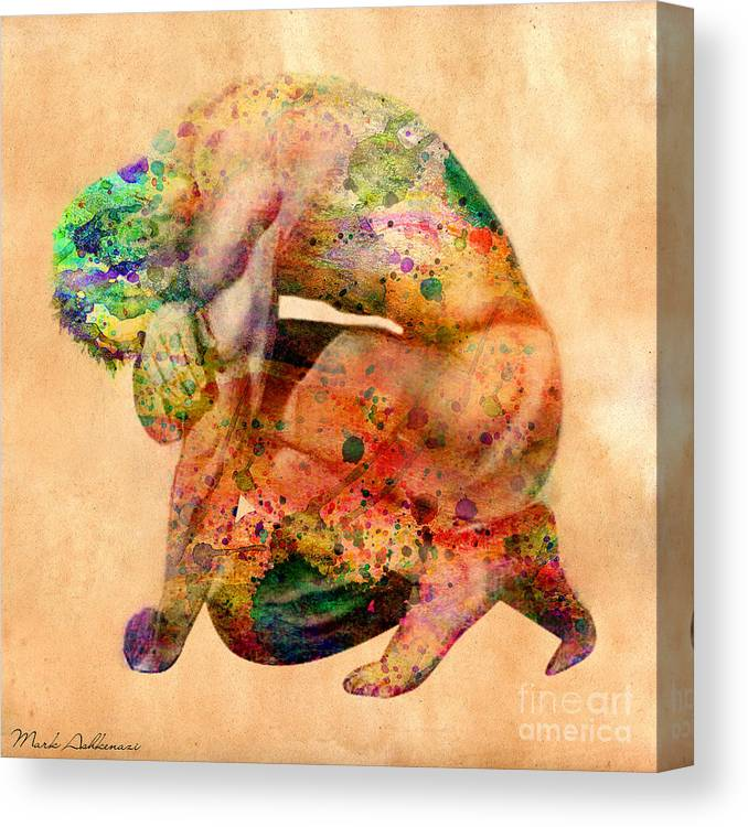Male Nude Canvas Print featuring the digital art Hombre Triste by Mark Ashkenazi