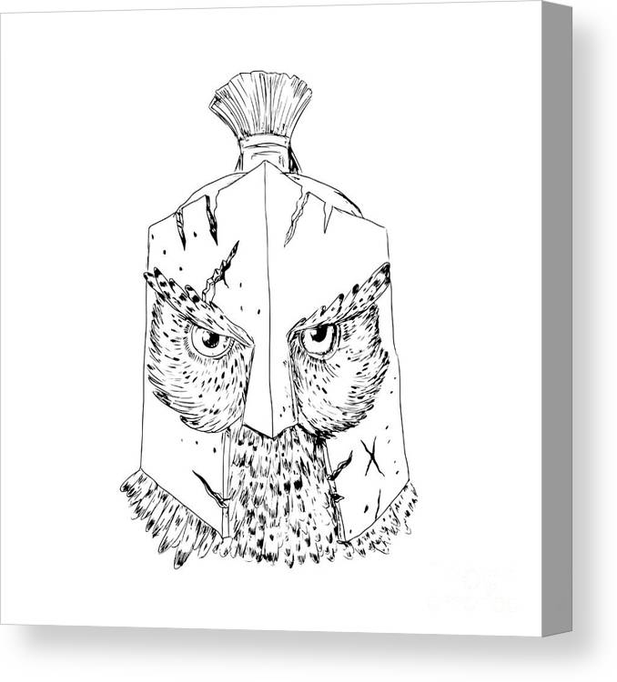 Horned Owl Spartan Helmet Drawing Canvas Print Canvas Art By