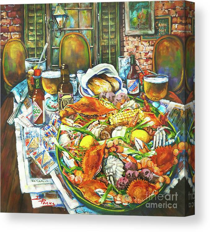 New Orleans Canvas Print featuring the painting Hot Boiled Crabs by Dianne Parks