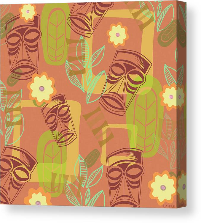 Tiki Canvas Print featuring the painting Hour At The Tiki Room by Little Bunny Sunshine