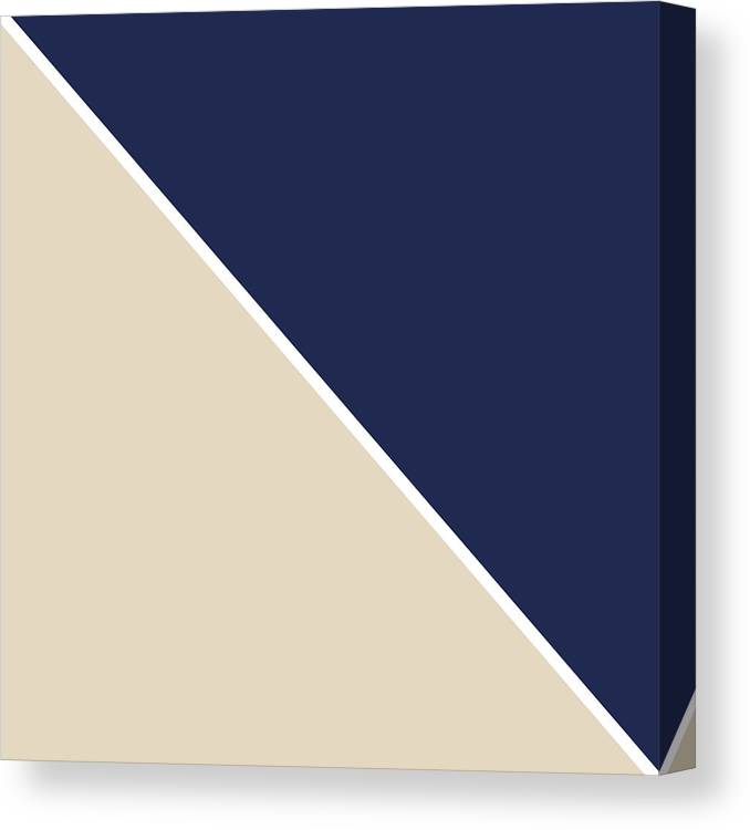 Blue Canvas Print featuring the digital art Indigo And Sand Geometric by Linda Woods