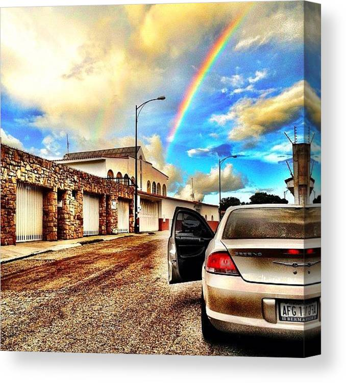 Popularpics Canvas Print featuring the photograph #iphone # Rainbow by Estefania Leon